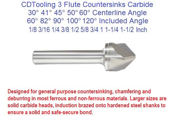 3 (Three) Flute Countersinks Carbide