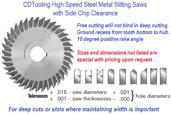 Metal Slitting Saws w/ Side Chip Clearance