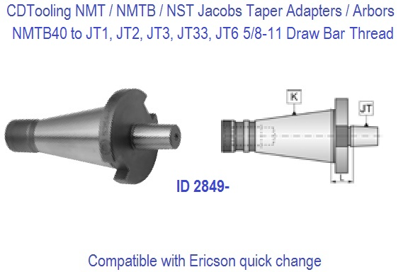 NST40, NMTB40 Jacobs Adapters / Chuck Arbors