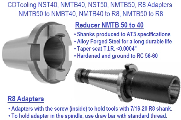 NST40, NMTB40, NST50, NMTB50, R8, Reducers / Adapters
