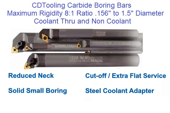 Micro Carbide Indexable Boring Bars : Boring and turning indexable carbide diamond tooling