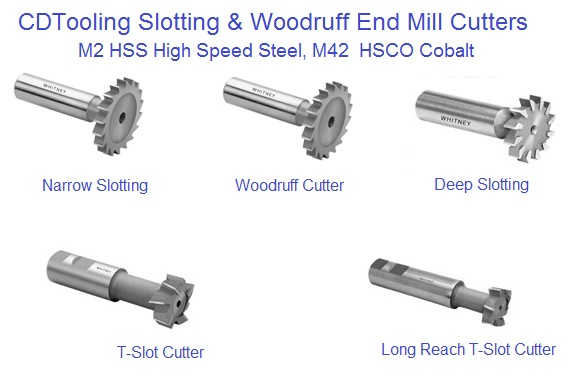 Slotting Cutters with Shank, Woodfruff, T-Slot, Deciamal Size