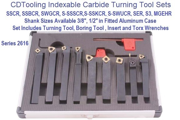9 Pc Indexable Boring, Turning Tool Set 3/8 or 1/2 Shank Sizes Series 2616-