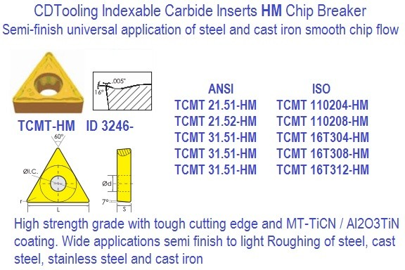 TCMT 21.51 21.52 32.51 32.52 32.53 HM Indexable Carbide Insert 10 Pack ID 3246-