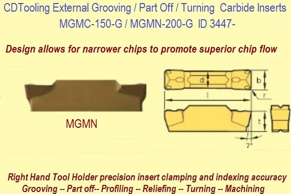 MGMN-150-G / MGMN200-G Parting, Grooving, Cut off Carbide Inserts ID 3450-