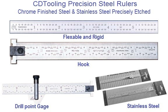 Precision Steel Rules, Satin Chrome & Stainless 6, 12, 24, 36, 48, Inch ID 1114