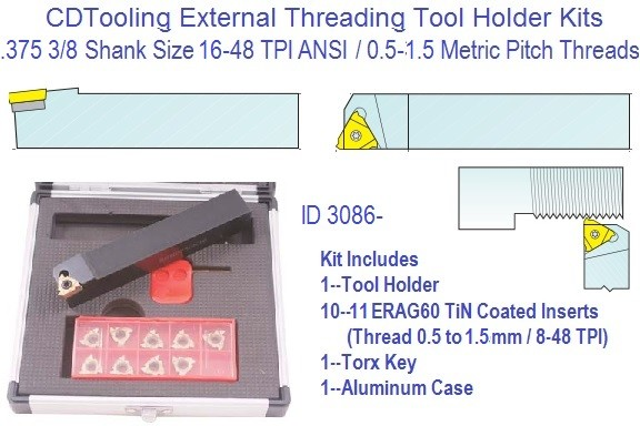 Indexable Carbide Laydown External Threading Kit 16-48 TPI .5 to 1.5mm Pitch, 1/2 Shank 11ERA60 Insert ID 3086-2301-1500