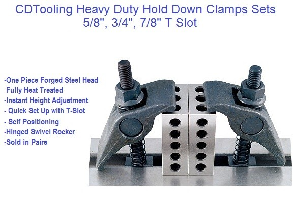 Heavy Duty Hold Down Clamp Set Pair 5/8, 3/4, 7/8 T-Slot
