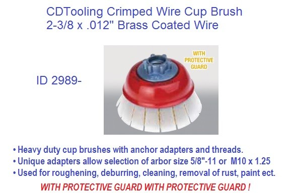Crimped Wire Wheel Brush Brass Coated c/w Protective Guard 2-3/8 Dia 3 Pack ID 2989-
