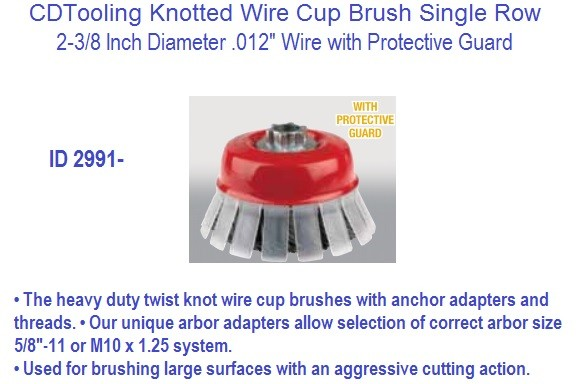 Knotted Wire Cup Brush Single Row 2-3/8 Diameter .012 Wire with Protective Guard 3 Pack ID 2991