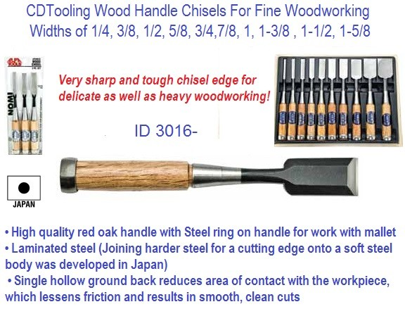 Woodworking Chisels Wood Handle with Ring Premium Quality Made in Japan ID 3016