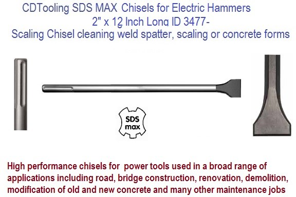 2 inch Scaling Chisel x 12  Inch Long SDS Max for Power Rotary Hammer Drill 2 Pack ID 3477-DC63155
