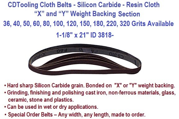 1-1/8 x 21 Inch Silicon Carbide Resin Cloth Belts 36, 40, 50, 60, 80, 100, 120, 150, 180, 220, 320 Grit 20 Pack ID 3818-