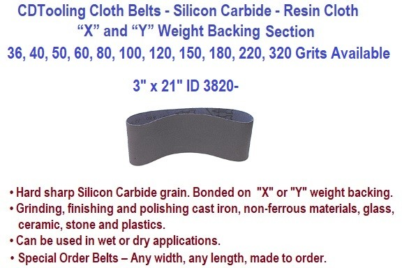 3 x 21 Inch Silicon Carbide Resin Cloth Belts 36, 40, 50, 60, 80, 100, 120, 150, 180, 220, 320 Grit 20 Pack ID 3820-