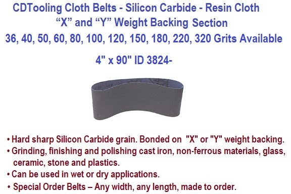 4 x 90 Inch Silicon Carbide Resin Cloth Belts 36, 40, 50, 60, 80, 100, 120, 150, 180, 220, 320 Grit 10 Pack ID 3824-