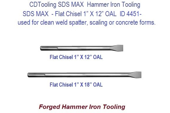 Flat Chisel 1 Inch Wide SDS Max Forged Hammer Iron Tool 12 or 18 Inch ID 3351-
