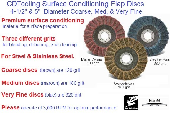 Flap Disc Surface Conditioning, Blending, Deburring Cleaning, 4-1/2