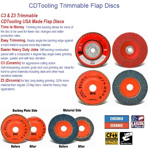4-1/2, 5 inch Z3 Zirconia, C3 Ceramic, Compact Trimmable Flap Discs