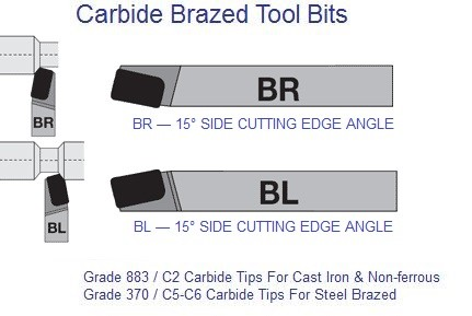 Carbide Tipped Brazed Tools BR  BL 15 degree 4 5 6 7 8 10 12 16 20 44