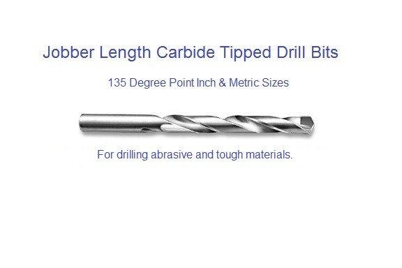 Carbide Drill Bits Carbide Tipped Jobber Length Inch and Metric 135 Degree Point