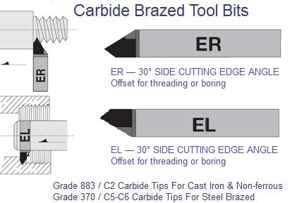 Carbide Tipped Brazed Tools EL 30 Degree Side Cutting Edge ER  EL 4 5 6 7 8 10 12 Grade 883  370