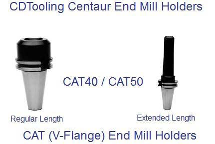 CAT40 and CAT50 CDTooling Centuar End Mill Holders