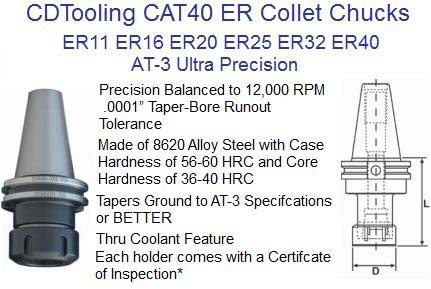 CAT40, ER11, ER16, ER20, ER25, ER32, ER40 Ultra Precision Collet Chuck AT-3, 12,000 RPM