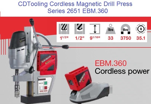 EBM.360 Cordless Magnetic Drill Cap 1-1/2 Annular Cutter 1/2