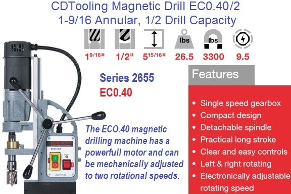 ECO.40/2 Magnetic Drill Machine 1-9/16 Annular, 1/2 Drill Capacity Series 3655