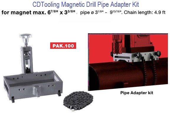 PAK.100 Magnetic Drill Pipe Adapter Kit, Attach Mag Drill to Pipe Series 2670