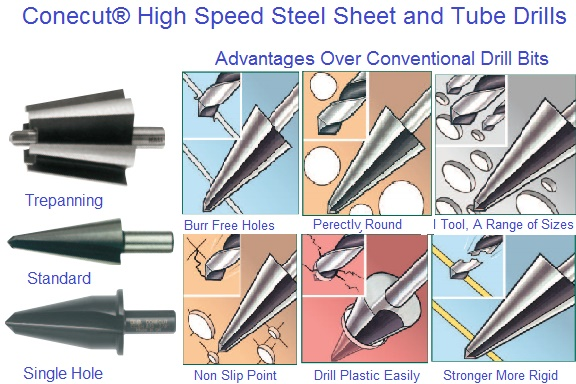 Conecut high speed steel sheet and tube drills to