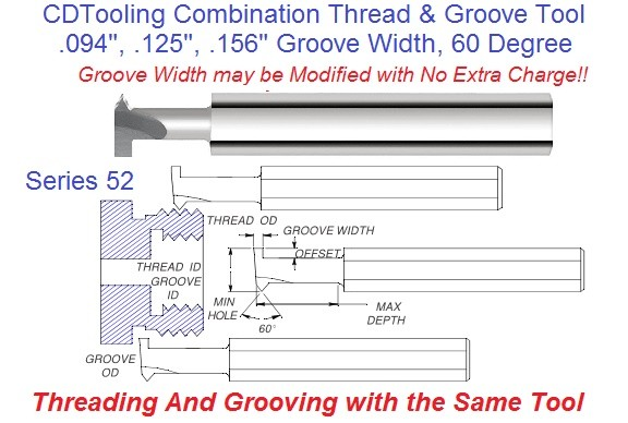 Combination Thread and Groove Tool 60 Degree .094 .125 .156 Groove Width