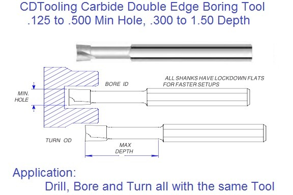 Double Edge Carbide Boring Tool .125 to .500, Drill Bore and Turn with 1 Tool
