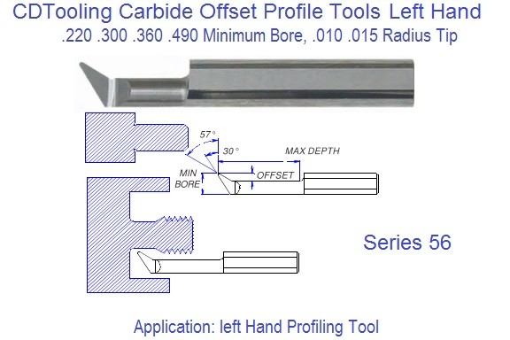 Carbide Offset Profile Tool Left Hand .220 .300 .360 .490 Min Bore Series 56