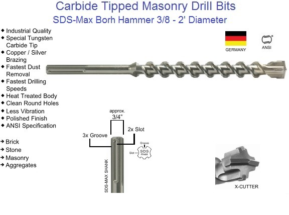 Carbide Tipped SDS Max Drill Bits Bohr Head 3/8 - 2