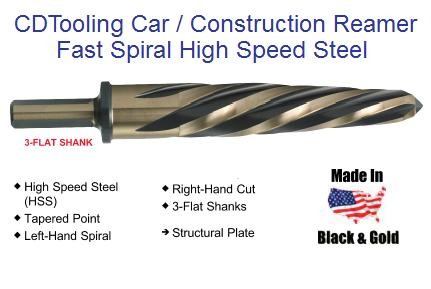 Car, Construction Reamer Fast Spiral 3/8 - 1-1/4 Diameter x 1/2 Shank