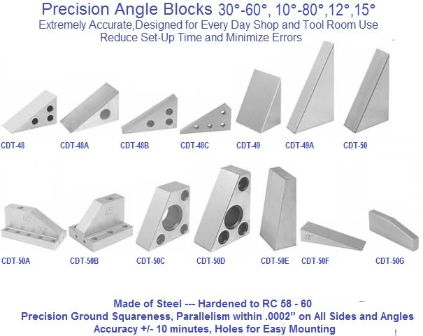 Angle Blocks Precision Ground, 30-60,10-80,12,15,Degree