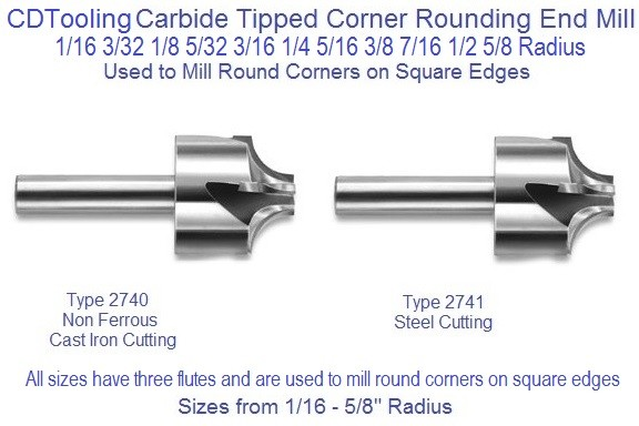 Corner Rounding End Mills Carbide Tipped Type 2740, 2741