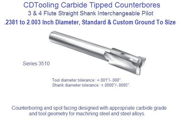 Counterbore Interchangeable Pilot Straight Shank Steel Cutting Carbide Tipped Series 3510 .2381 to 2.030 Inch