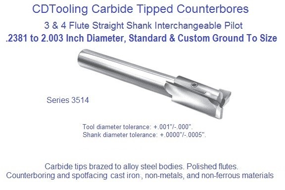 Counterbore Interchangeable Pilot Straight Shank Non Ferrous Cast iron Carbide Tipped Series 3514 .2381 to 2.030 Inch