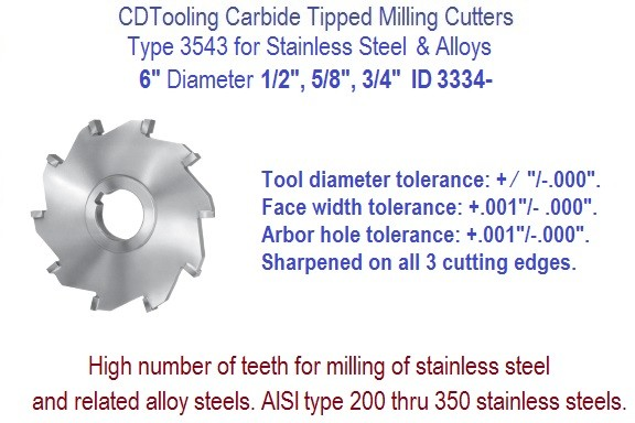 6 Inch Diameter Carbide Tipped Side Milling Cutter for Stainless Steel, Alloys .500 .625 .750 Widths ID 3334-