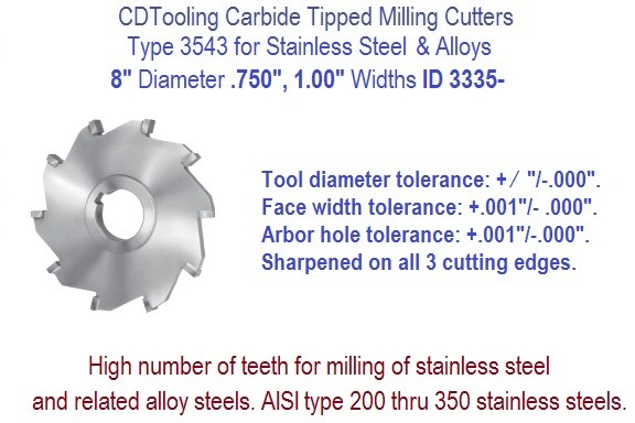 8 Inch Diameter Carbide Tipped Side Milling Cutter for Stainless Steel, Alloys .750 1.00 Widths ID 3335-