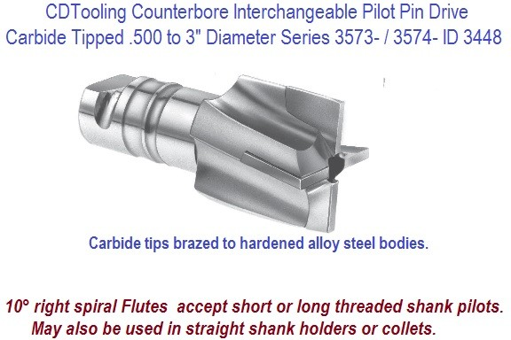 Counterbore Interchangeable Pilot Pin Drive Carbide Tipped .500 to 3 Inch Diameter Series 3573- / 3574- ID 3448