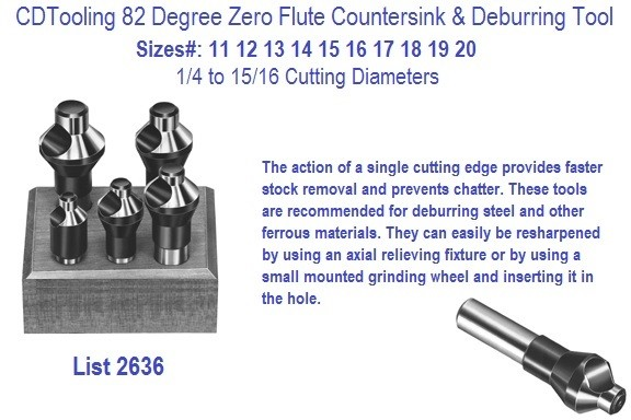82 Degree Zero Flute Piloted Countersinks, Deburring Tools 544P 1/4 5/16 3/8 7/16 1/2 Screw Sizes Series 2636