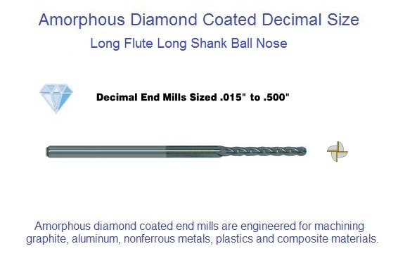 Amorphous Diamond Coated Flute Decimal Size Micro Ball End Mills Long 4 Flute 0.015-0.062