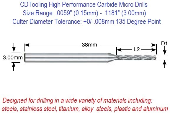 Carbide Micro Drills Metric Size Range: .0059  0.15mm – .1181 3.00mm ID 2732-