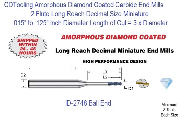 Amorphous Diamond Coated Flute Decimal Size Micro Ball End Mills Long Reach 2 Flute 0.015-0.125