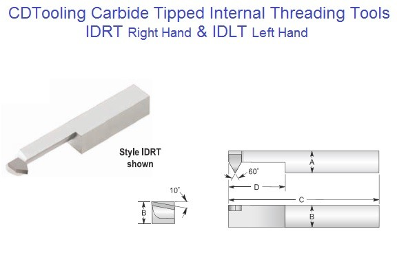IDRT, IDLT Carbide Tipped Internal Internal Threading Tools