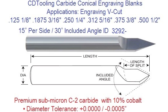 Carbide 15 Per Side 30 Included Degree Angle Conical Engraving Blanks 1/8 3/16 1/4 5/16 3/8 1/2 Inch ID 3292-