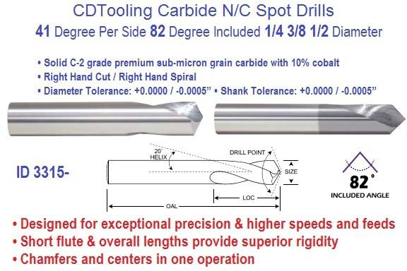 Spot Drills N/C Carbide 41 per Side 82 Degree Included 1/4 3/8 1/2 Diameter ID 3315-